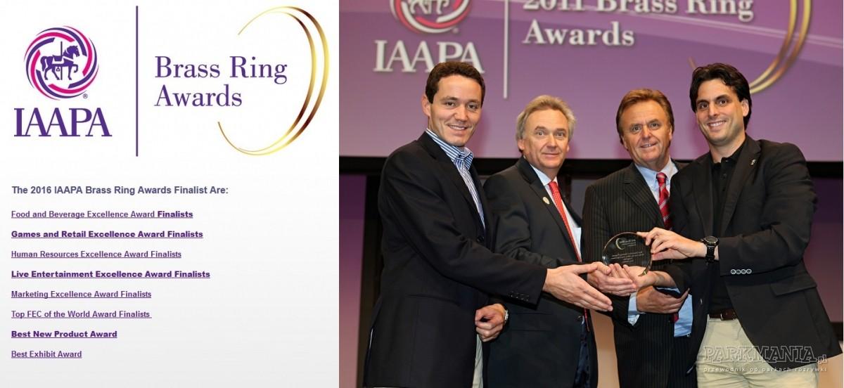 Kategorie nagród przyznawanych przez IAAPA. Po prawej stronie przedstawiciele Europa-Parku z nagrodą w kategorii Zarządzanie Zasobami Ludzkimi.